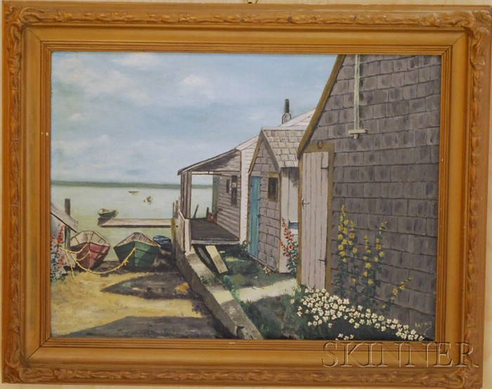 20th Century American School Oil on Canvas Depicting Nantucket Landing Shacks