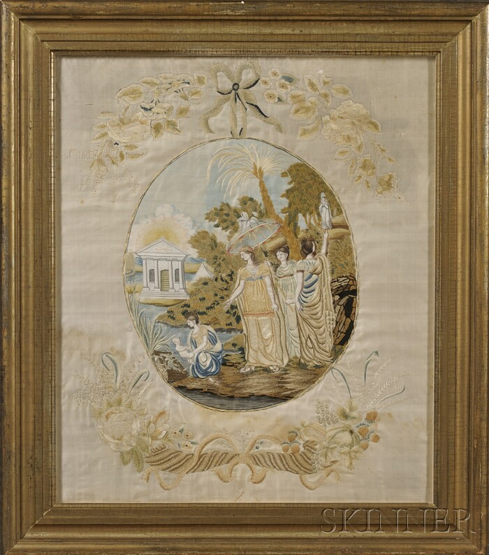 Federal Silk Needlework and Watercolor Picture of Moses in the Bulrushes