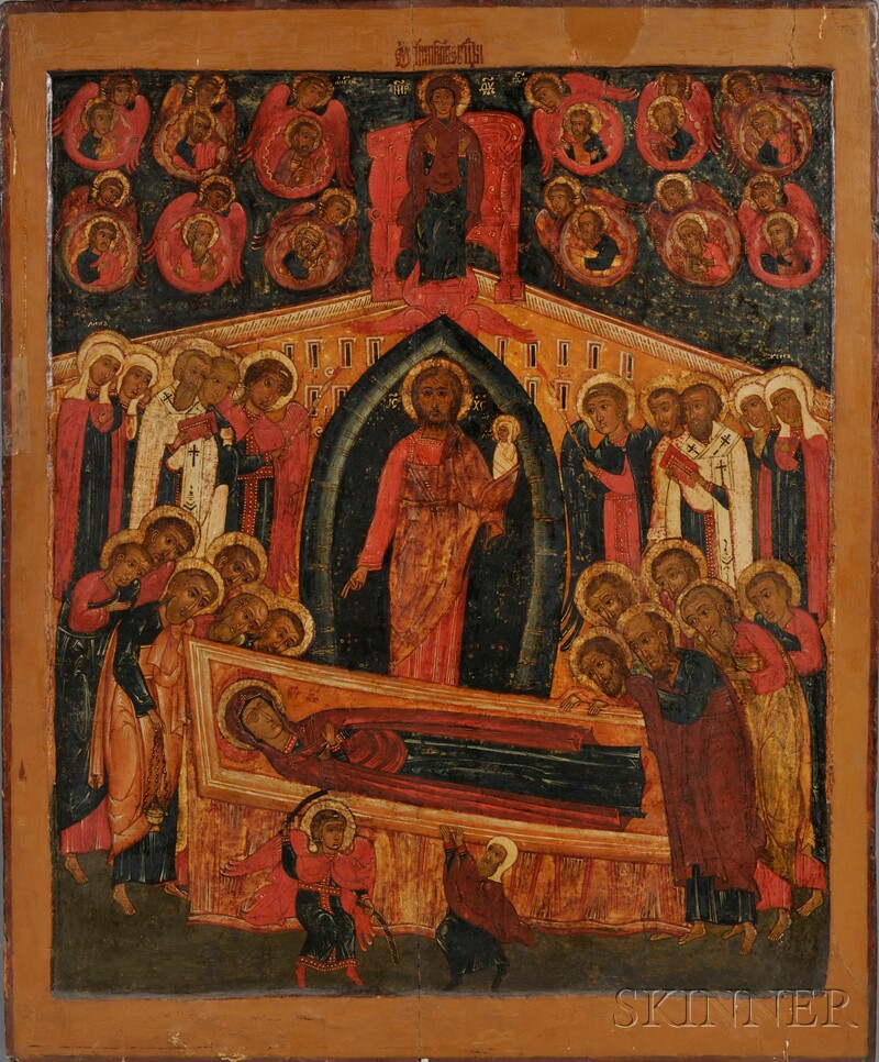 Large Russian Church Icon Depicting the Dormition of the Virgin