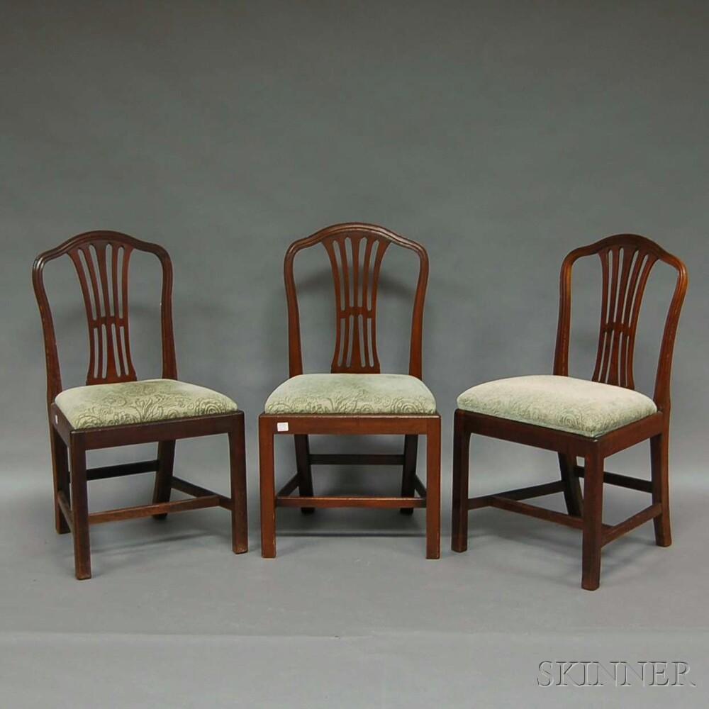 Set of Six Chippendale Mahogany Dining Chairs with Upholstered Slip Seats.     Estimate $150-250