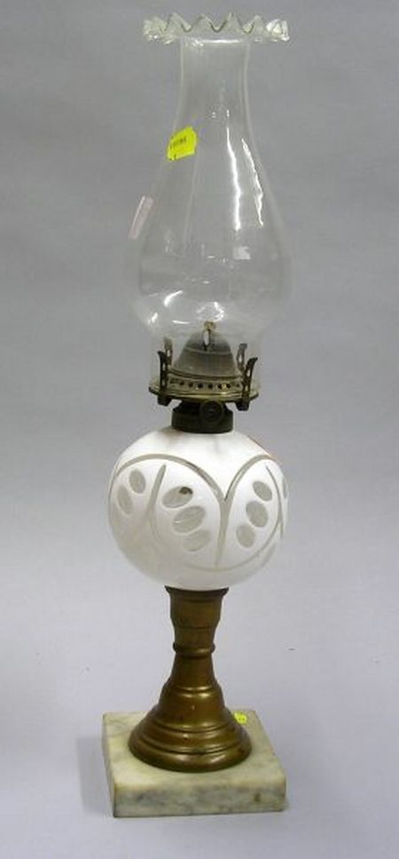 White Overlay Cut-to-Clear Glass Oil Lamp.