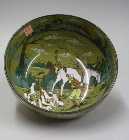 "1908 Buffalo Pottery Deldare Ware ""The Fallowfield Hunt, The Death"" Fruit Bowl"
