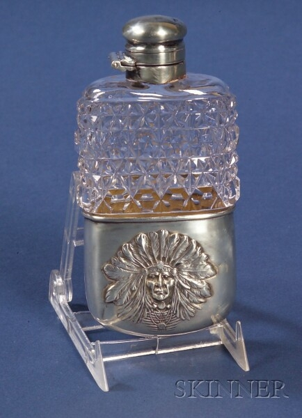 Unger Brothers Sterling and Colorless Cut Glass Flask