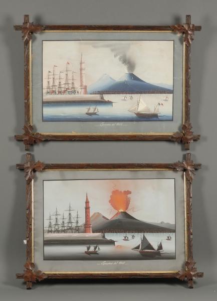 Italian School, 19th Century      Lot of Two Views Depicting the Eruzione del 1868.