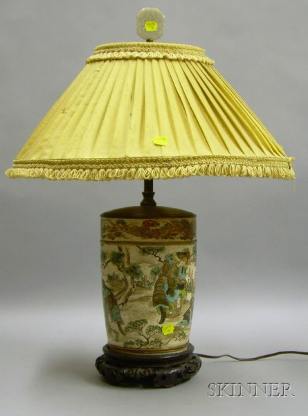 Japanese Satsuma Cannister Table Lamp with Carved Hardwood Base.