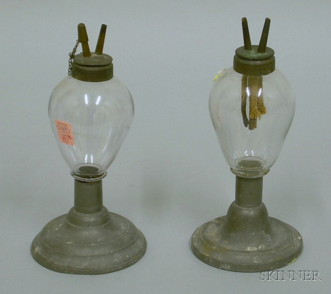Pair of Glass and Pewter Fluid Burning Lamps