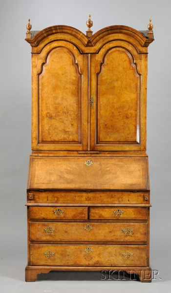 Queen Anne-style Walnut and Burl Walnut Inlaid Double-dome Secretaire Bookcase