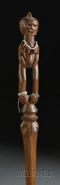 East African Carved Wood Staff