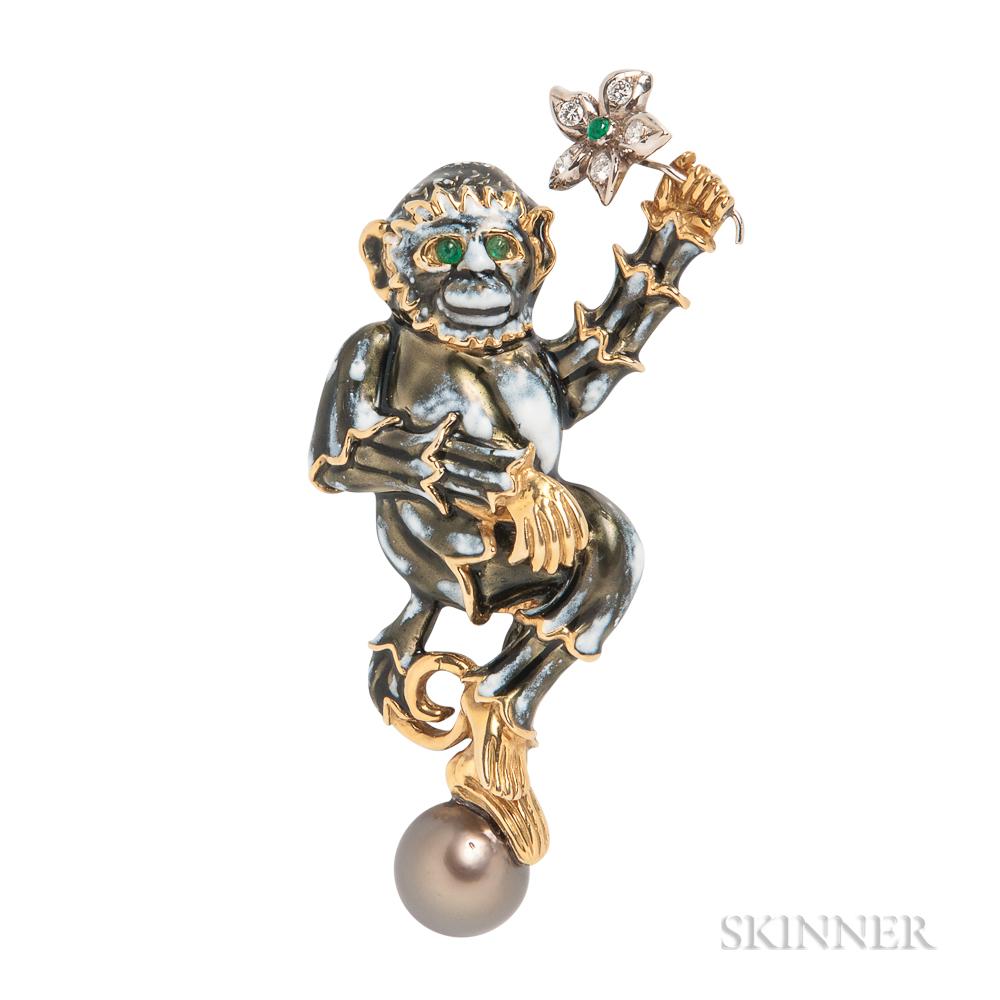 18kt Gold, Gem-set, and Enamel Brooch, Aldo Cipullo for Cartier
