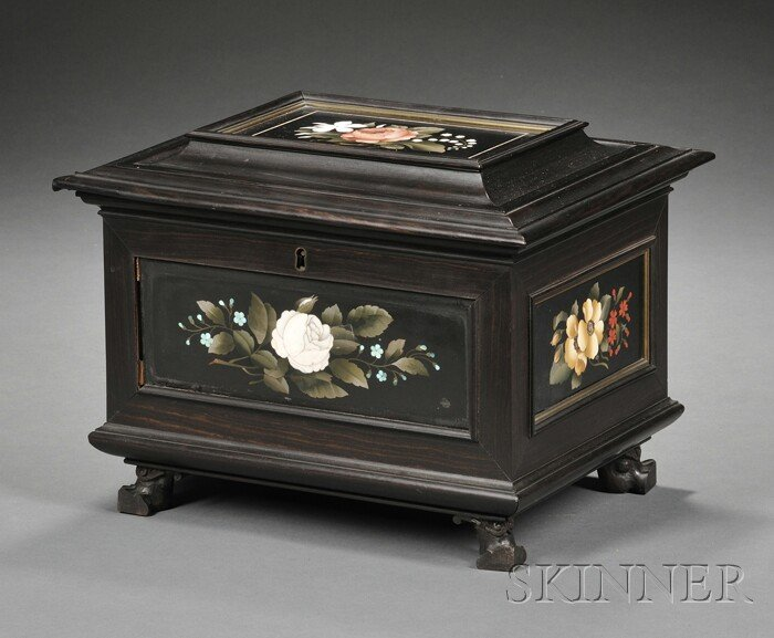 Italian Pietra Dura and Ebony Jewelry Casket