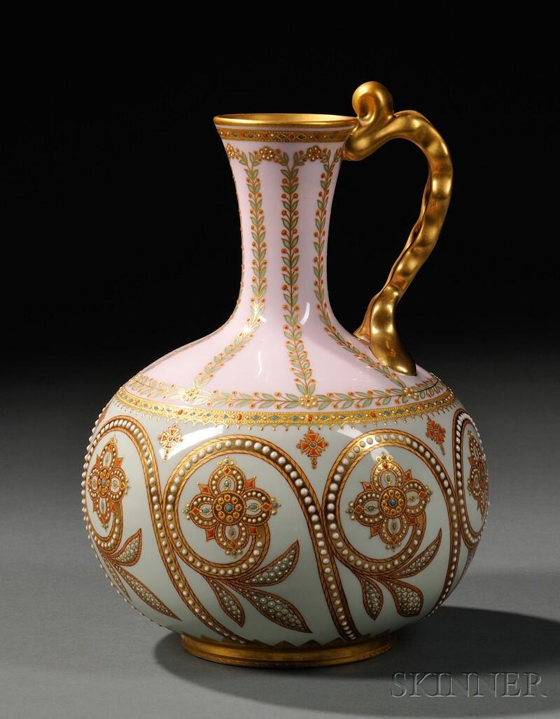 Copeland Jeweled Porcelain Ewer