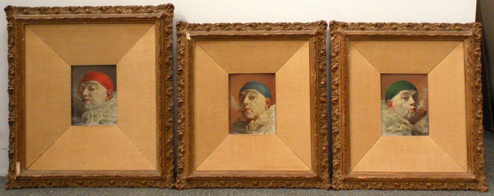 Armand Francois Joseph Henrion (Belgian, 1875-1958)      Three Portraits of Clowns