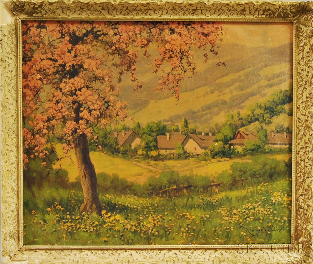 Framed Photo-reproduction of a Landscape