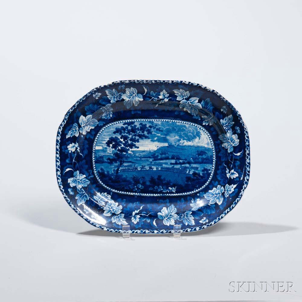 Staffordshire Historical Blue Transfer-decorated Battle of Bunker Hill Platter