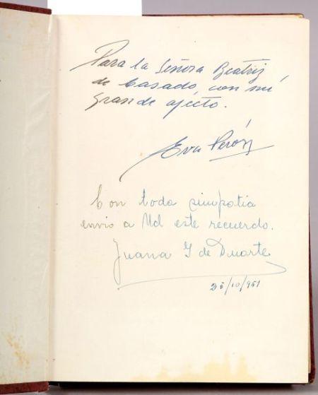 """Peron, Maria Eva Duarte """"Evita'' (1919-1952), Signed Copy"""