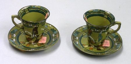 "Pair of 1909 Buffalo Pottery Deldare Ware ""Ye Village Street""  Saucers with a Pair   of Flared Demitasse Cups"
