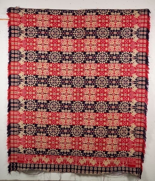 Wool and Cotton Beiderwand Weave Coverlet