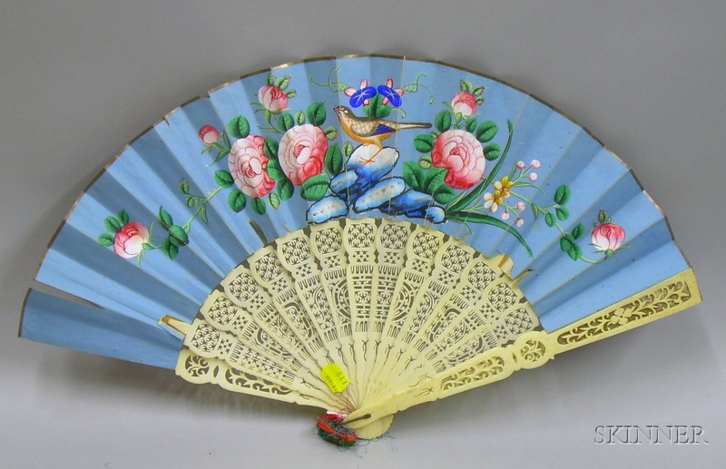Chinese Export Carved Ivory and Hand-painted Paper Hand Fan.