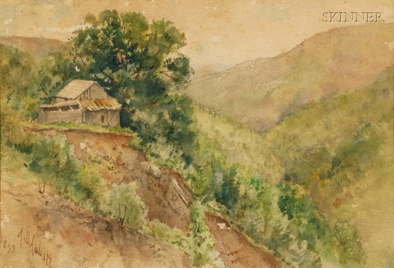 Agnes Dean Abbatt (American, 1847-1917)      Hillside Landscape