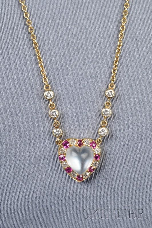 Moonstone, Ruby, and Diamond Pendant