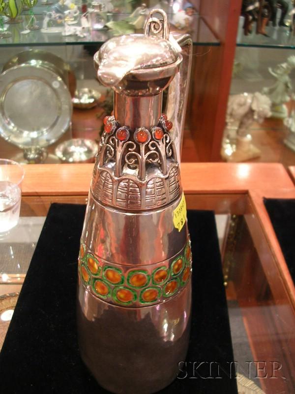 David Andersen Art Nouveau Sterling, Enamel,  and Carnelian-mounted Ewer