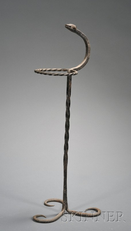 Wrought Iron Cane Holder with Lamb's Head Finial