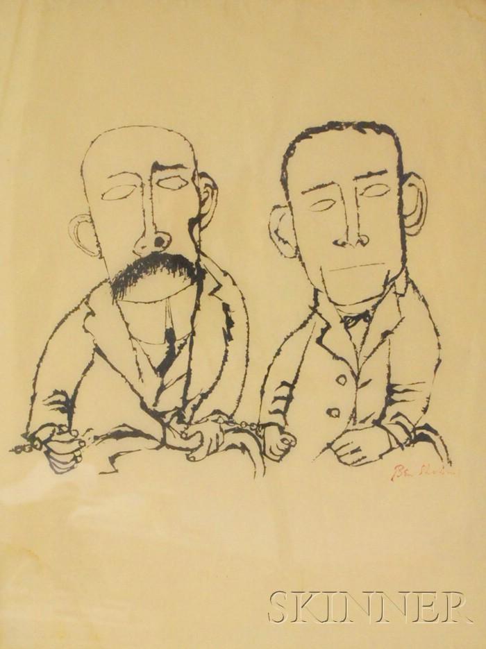 Ben Shahn (American, 1898-1969)      Portrait of Sacco and Vanzetti