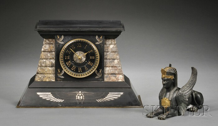 Egyptian Revival Marble, Slate, and Bronze-mounted Mantel Clock