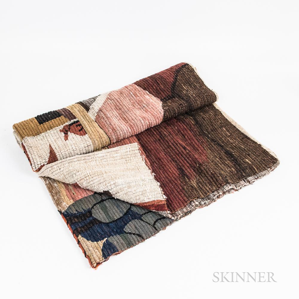 Woven Rug/Blanket with a Village Landscape
