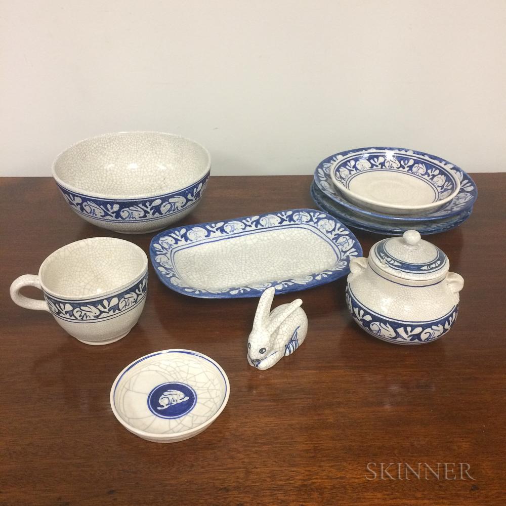 Ten Pieces of Rabbit Pattern Dedham Pottery