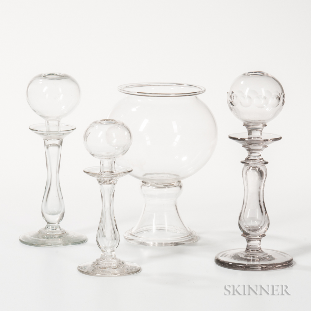 Colorless Glass Leech Jar and Three Lamps