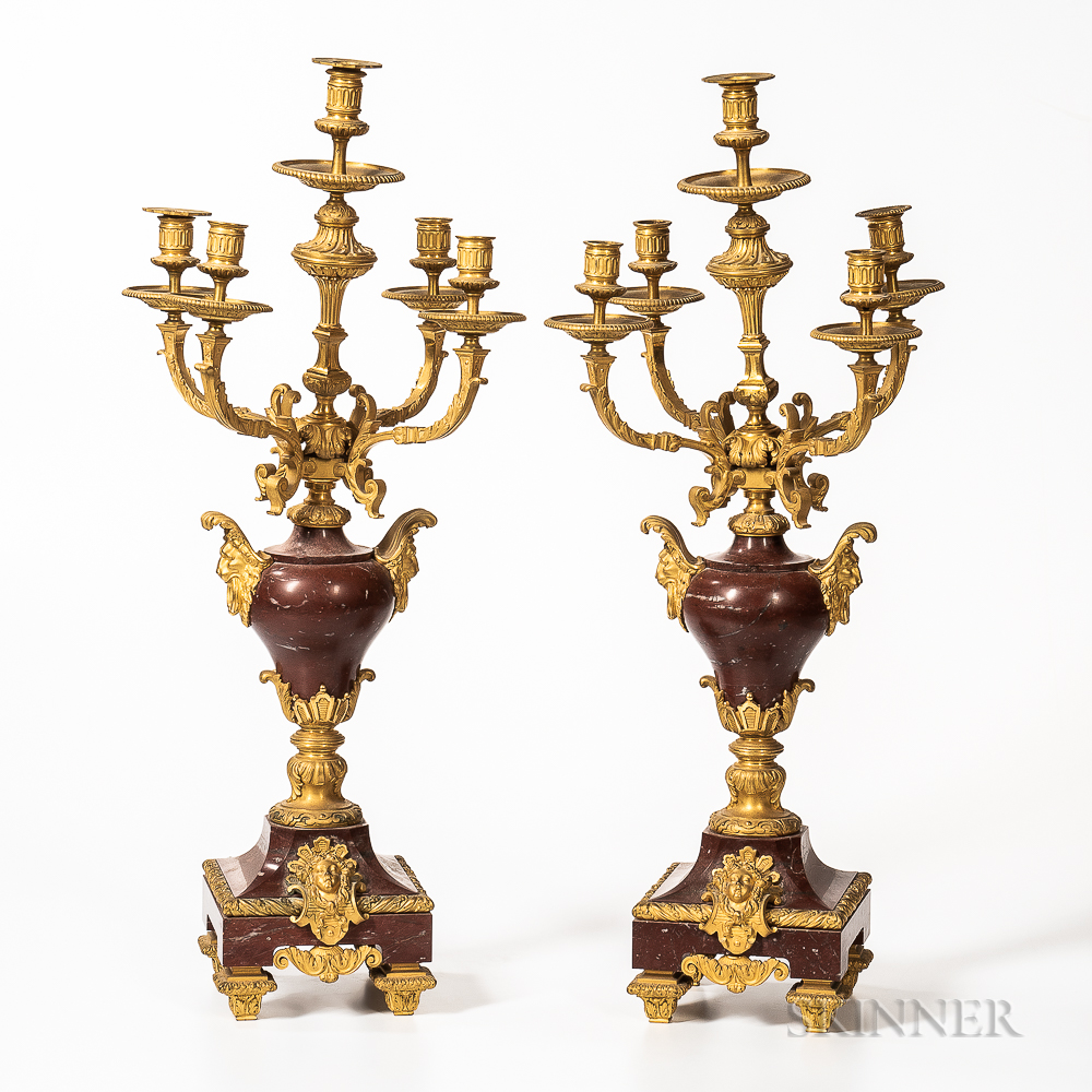 Pair of Rouge Marble and Gilt-bronze Five-light Candelabra