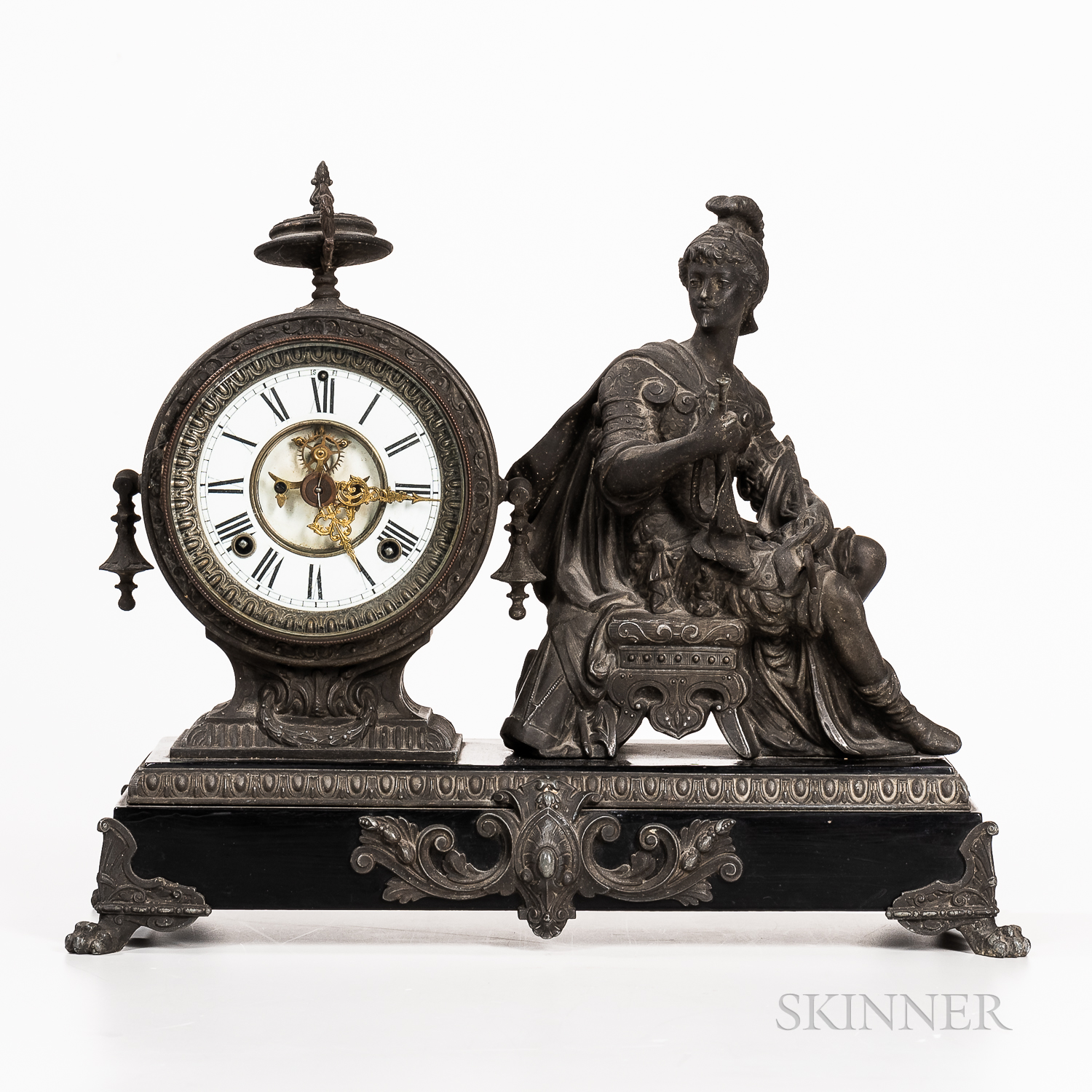 White Metal Mantel Clock