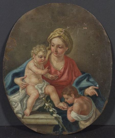 Continental School, 19th Century    Madonna and Child with Saint John the Baptist.