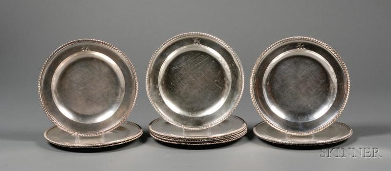 Set of Twelve George III Silver Chargers