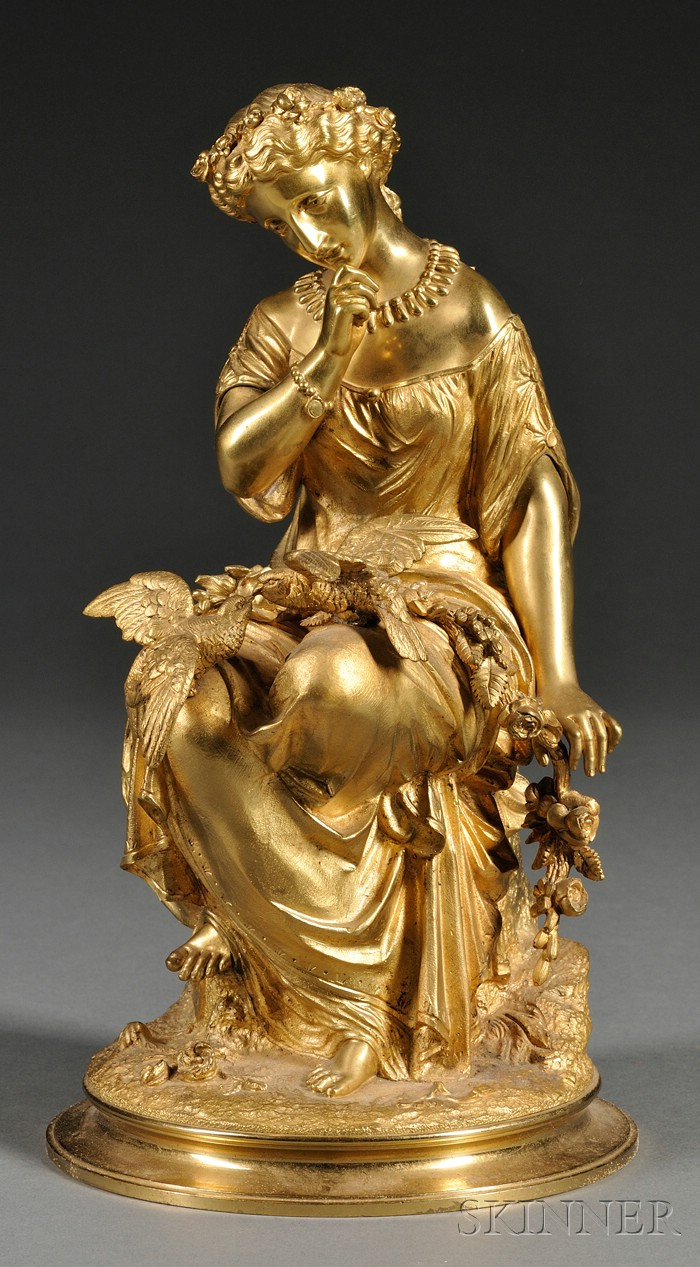 Victorian Gilt Bronze Figure of a Classical Maiden with Doves