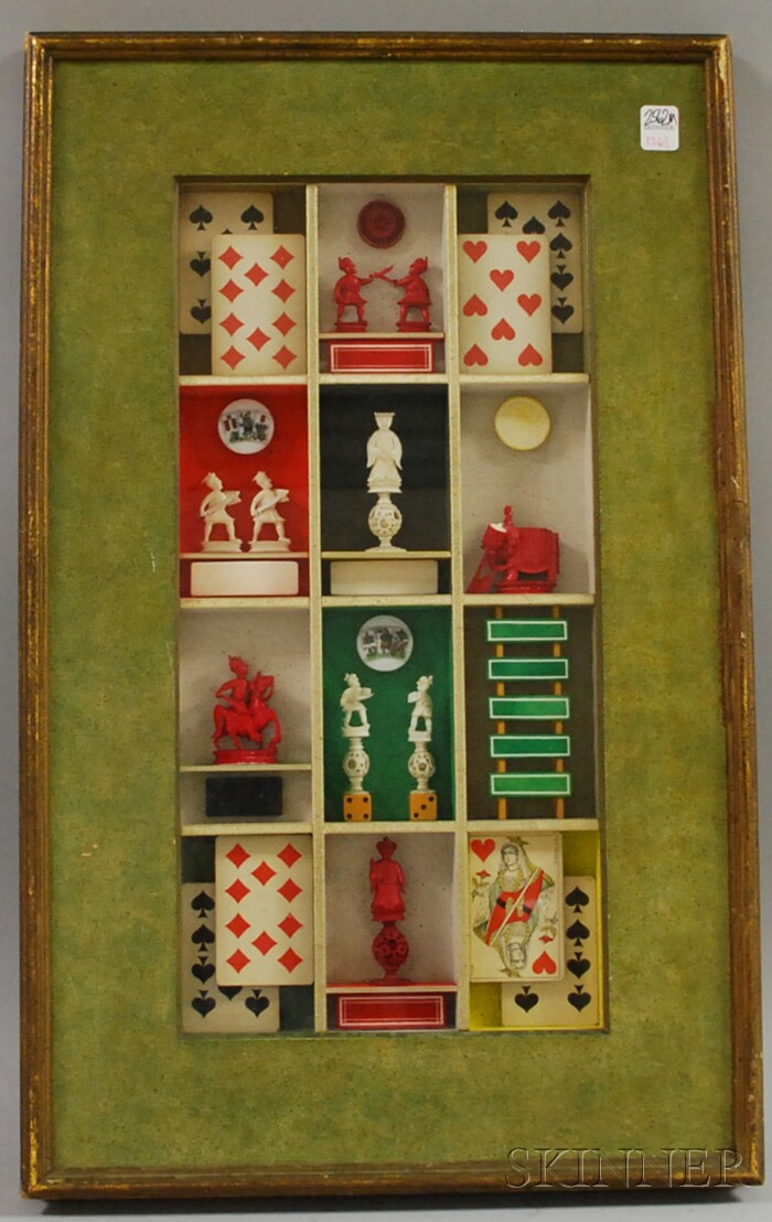 Framed Shadow Box with Carved Chess Pieces, Playing Cards, and Game Pieces, and a Framed Peter Max Autographed Poster Kentucky Derby...