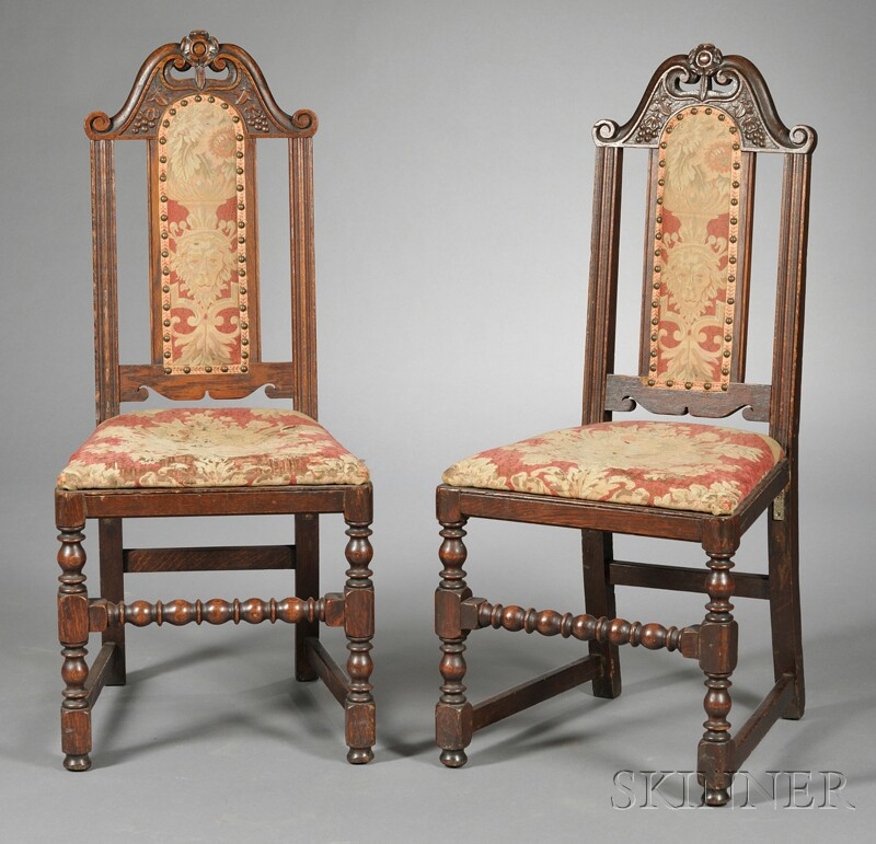Pair of Carved and Upholstered Side Chairs
