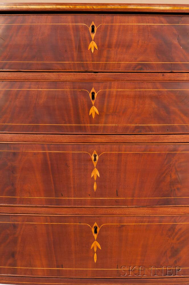 Inlaid mahogany bowfront bureau sale number 2961b lot for Bureau number