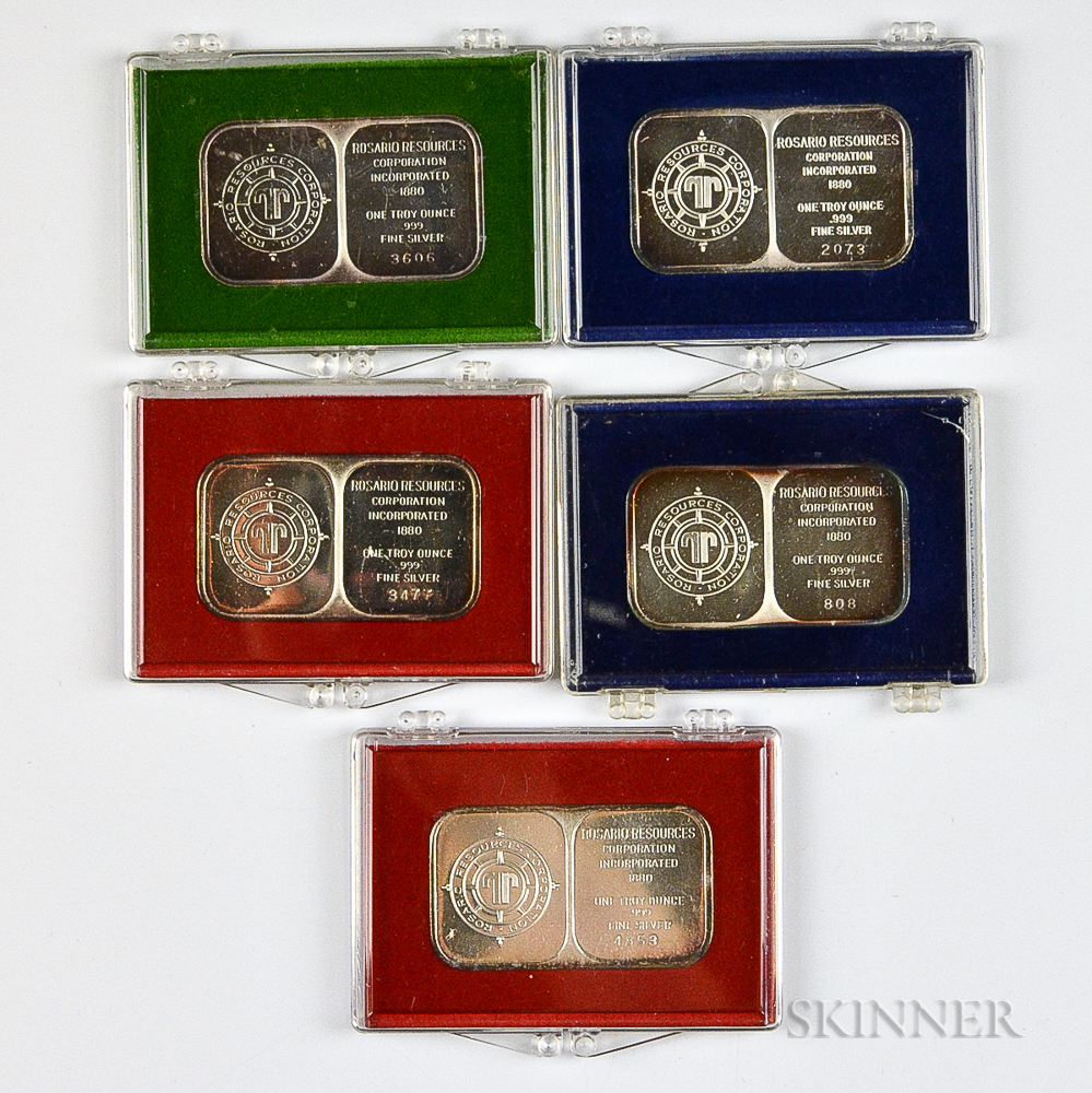 Five Rosario Resource Corporation One Troy Ounce Silver Art Bars.     Estimate $60-80