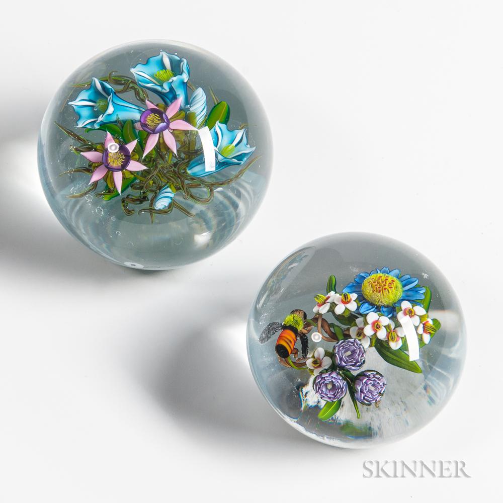 Two Ken Rosenfeld Floral Paperweights