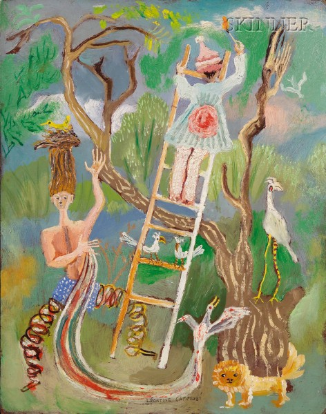 Leontine Camprubi  (American, 1916-1994)      Surreal Landscape with Figures and Tree