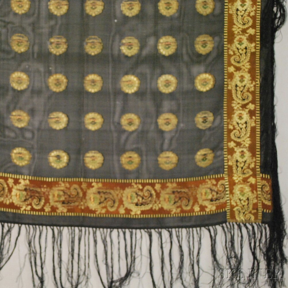 Three Black Gauze Shawls with Woven or Brocaded Designs