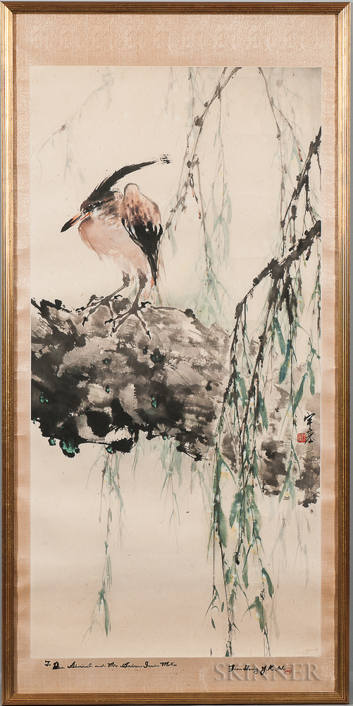 Painting Depicting a Heron