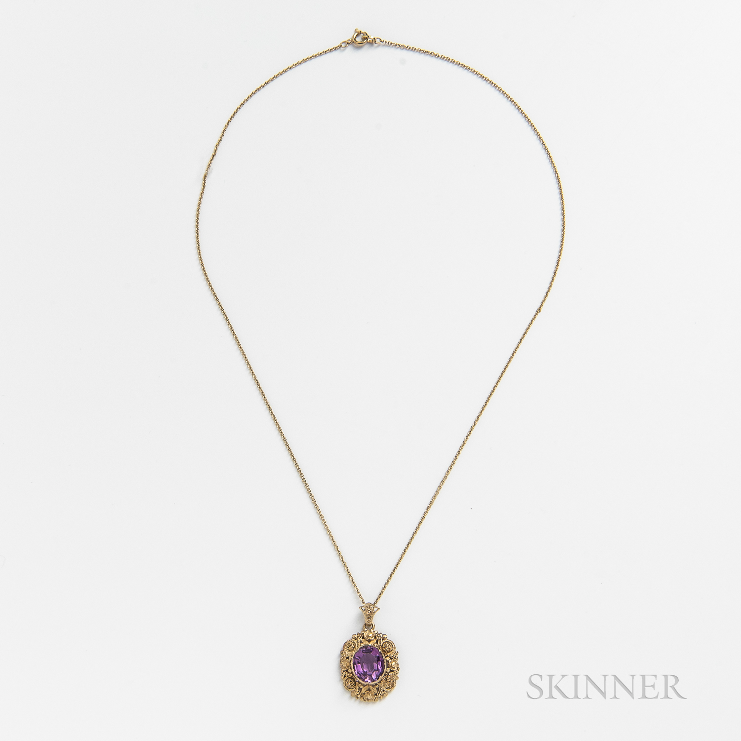 Antique 18kt Gold and Amethyst Pendant
