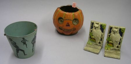 Vintage Painted Composition Sand Pail, a Painted Cardboard Jack-o-Lantern, and Pair of Painted Cast Iron Owl Bookends.