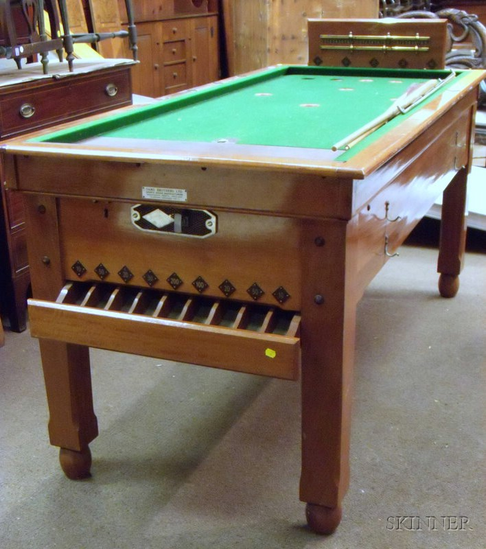 British Cherry Skittle Billiards Table