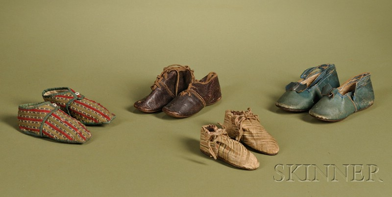 Four Pairs of Early Child's Shoes
