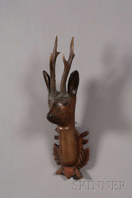 Rustic Carved and Painted Wooden Deer Head Wall Plaque