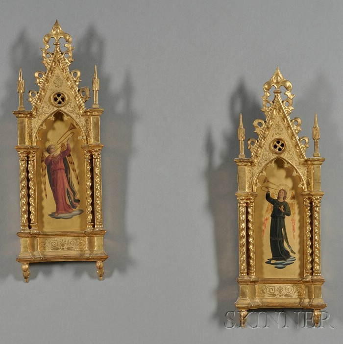 Pair Florentine Giltwood Angel Plaques